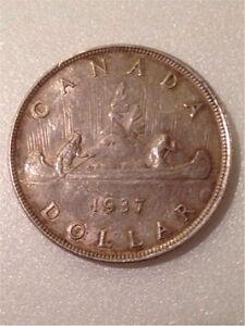 1937 Canadian Dollar Coin Cambridge Kitchener Area image 1