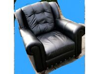 BLACK LEATHER THREE PIECE SUITE .CAN DELIVER