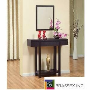 NEW BRASSEX CONSOLE TABLE   WITH DRAWER - DARK CHERRY FINISH ENTRYWAY HALL BEDROOM LIVING ROOM 90715021