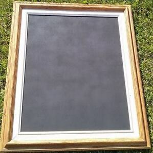 Natural wood & burlap frame with white & gold inlay chalkboard