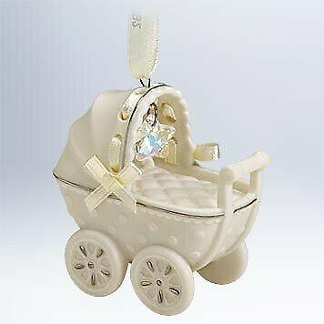 HALLMARK 2011 Boy Girl BABYS 1st Christmas Porcelain Carriage Buggy Stroller NIB