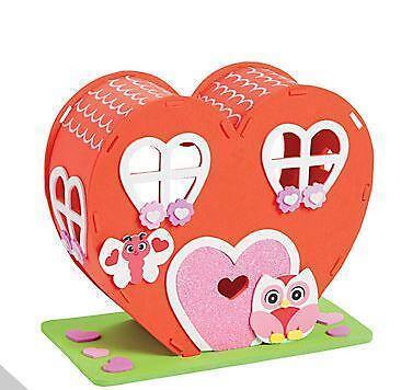 3D Valentine Heart House Foam Craft Kit Kids Gift Valentine's Day
