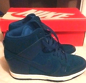 Women's Nike Dunk Sky Hi concealed wedge trainers Teal Size 4 (Boxed)