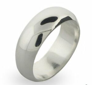 STERLING SILVER SOLID BAND 8MM WIDE HEAVY  SIZE 8
