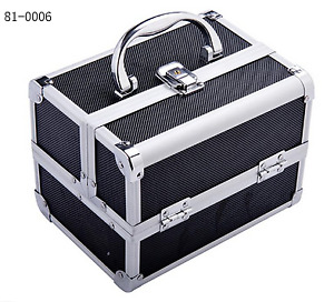 Mirrored Mini Professional Makeup Case with Pull-Out Trays