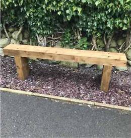 Railway Sleeper Bench Garden Seat Handmade