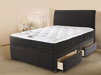 Brand New KingSize Divan Bed Black Base with 5ft/11inch Sprung Memory Foam King size Mattress