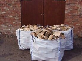 3x1ton bulk bags of barn dried seasoned hardwood firewood logs with free delivery and stacking £130