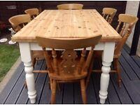 FARMHOUSE PINE TABLE & SIX CHAIRS