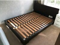 M&S Solid Oak and Brown Leather Kingsize Bed