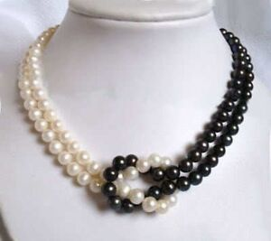 2Rows 7-8mm white&black Akoya Pearl Necklace