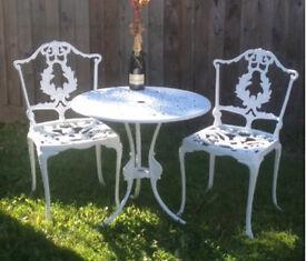 Refurbished Cast Alloy Aluminium Garden Patio Bistro Table 2 Chairs Set.