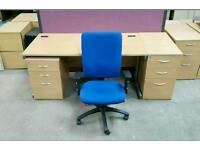 Beech Straight Desk + Matching PEDESTAL and GOOD QUALITY CHAIR !