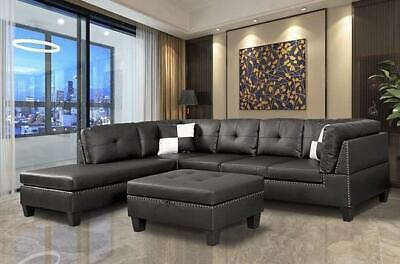 Nail Head 3 Piece Sectional Sofa Set Lift -Facing chaise wit