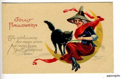 Halloween Witch Black Cat Poem Postcard