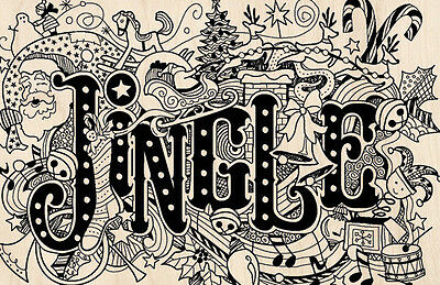 Christmas Holiday Jingle Doodle Rubber Stamp Card Inkadinkad