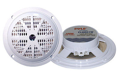 "2) PYLE PLMR51W 5.25"" 200W 2-Way Waterproof Marine/Boat/Car Audio Speakers White on Rummage"