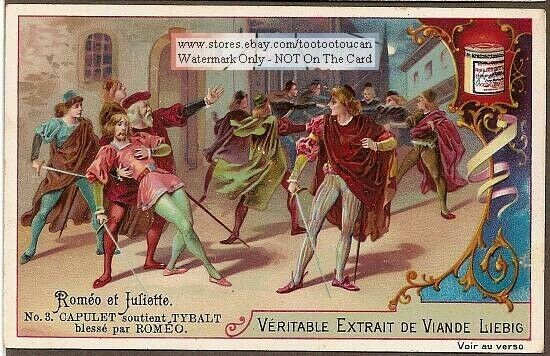 Romeo and Juliette Shakespeare Play 6  c1898 Trade Ad Cards