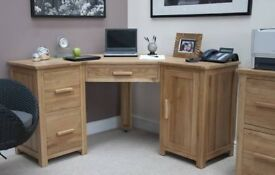 Opus Solid Oak Furniture Corner Computer Desk