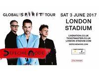 Depeche Mode tickets, London, 3rd June, 2 standing/general seating tickets