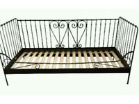 Ikea single day bed - black metal frame and good nearly new mattress