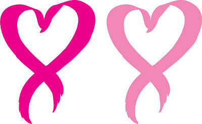 Pink Ribbon Dekoration (Set of 2 -  Pink Heart Breast Cancer Ribbon - Window Sticker Decal -3 Diff Sizes)