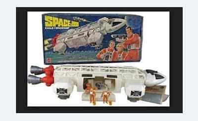 VINTAGE SPACE 1999 MATTEL EAGLE ONE 1 TRANSPORTER BOX FIGURES COMPLETE
