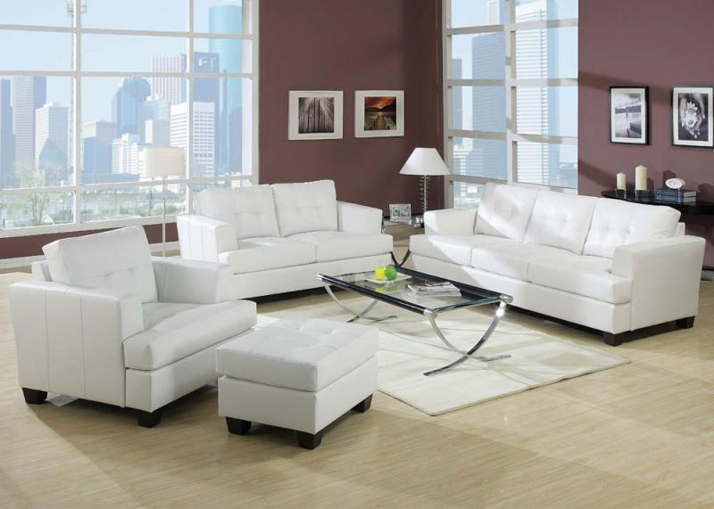 Acme Furniture Bonded Leather Platinum Sofa And Loveseat Living Room 15095