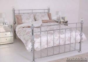 Nickel Bed Frame With Crystal Knobs