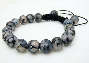 Men's Shamballa bracelet all  NATURAL DRAGON VEINS AGATE stone  beads no metal