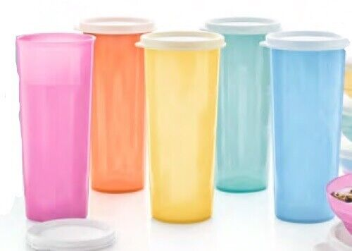 Tupperware Tumblers 16 oz. with Seals Pastel Colors #107 Style NEW