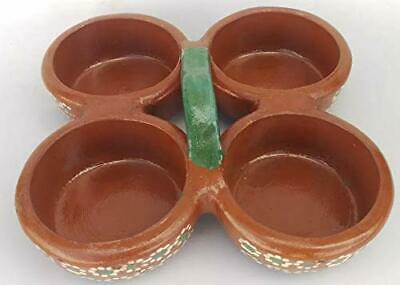 - Traditional Mexican 4-Section Bowls Salsa Chips Guacamole Nuts Condiment Server