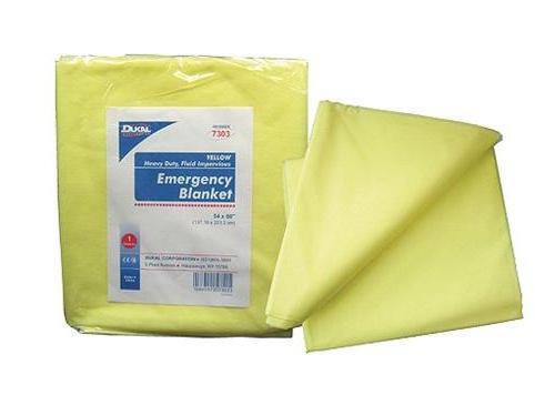 """Dukal Corp. - Heavy Duty Emergency Blanket, 54"""" x 80"""", Yellow. #7303, New"""