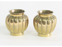 """A pair of Chinese brass ribbed vases, 10cm (4"""") high (2)"""