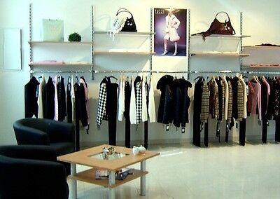 470 cm Regalwand Wandsystem Ladeneinrichtung Rückwand Verkaufswand chrom