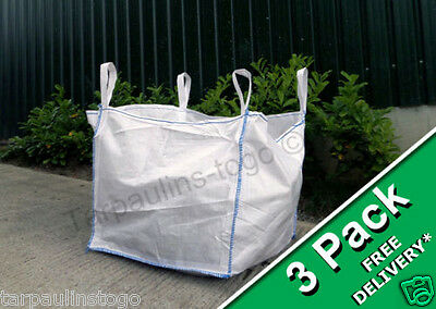3 Pack One 1 Tonne  FIBC Dumpy Jumbo Bags Builders Garden Rubble Aggregate Sack