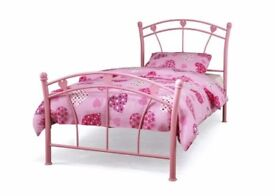 Girls pink metal love heart bed