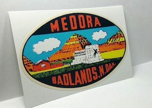 Medora Badlands North Dakota Vintage Style Travel Decal, Vinyl Luggage Sticker