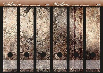 Wallario Ordnerrücken selbstklebend für 6 breite Ordner - Schnörkelmuster braun