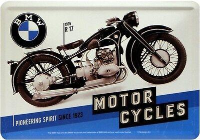 BMW R17 Motorrad 1935 Bike Blech Karte Postkarte 10x14 Blechschild Vintage PK04