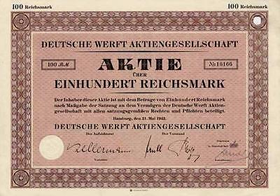 DEUTSCHE WERFT Hamburg alte Aktie 1942 HDW Schiffbau ThyssenKrupp marine systems