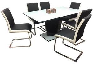 Glossy White and Black Dining Set (CA704)