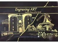 Gold Foil Engraving Art Set-2 Sheets A3 Size Famous Places Of The World Designed-Xmas Gift