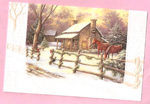 Horse Snow Cabin Fence Country Winter Embossed Christmas Cards Box of 16^