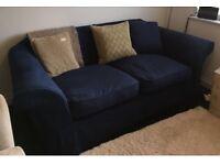 Navy Blue Fabric 3 Seater Sofa