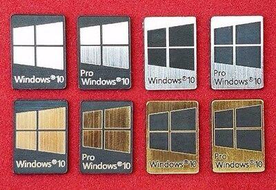 Windows 10 & Pro Metal Silver/Gold/Black Case Badge Sticker Laptop - 8 Colors