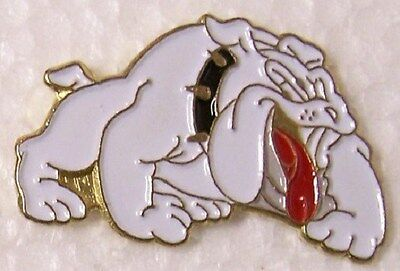 Hat Lapel Pin Scarf Clasp Dog Bulldog white NEW red collar