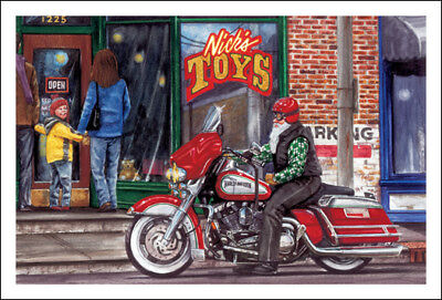 HARLEY DAVIDSON CHRISTMAS CARDS #X844 HARLEY IN FRONT OF NICK