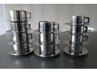 11 x Casalinghi Cappuccino(7) & Espresso Cups(4) S/S Inox 18/10 Italian Vintage 1990s - STYLISH