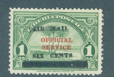 """Liberia 1936, """"AIR MAIL SIX CENTS"""" overprint on 1c palm trees RR $$ #C3"""